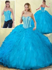 Cute Sweetheart Beading Blue Quinceanera Dress with Ruffles