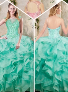 New Appliques and Ruffles Sweet 16 Dresses in Turquoise