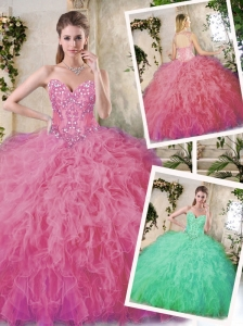 Popular Appliques Quinceanera Dresses in Watermelon