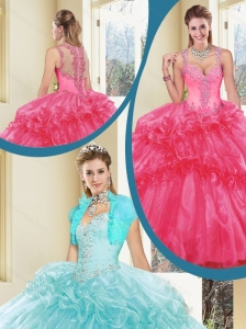 Gorgeous Straps Beading Quinceanera Dresses with Ruffles