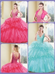 Modest V Neck Quinceanera Dresses with Appliques and Ruffles