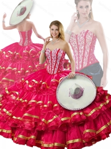 Cute Beading and Ruffled Layers Red Detachable Quinceanera Dresses