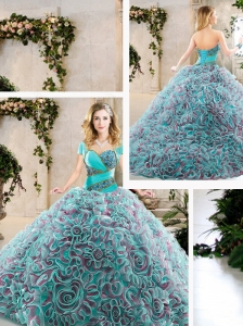 Cute Brush Train Quinceanera Gowns with Beading and Ruffles