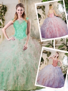 Pretty Appliques and Ruffles Sweet 16 Dresses in Multi Color