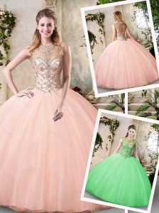 Pretty Bateau Peach Quinceanera Dresses with Beading