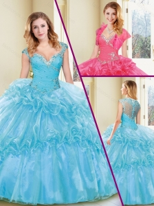 Pretty Beading and Ruffles Quinceanera Dresses in Aqua Blue