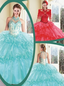 Pretty Halter Top Quinceanera Dresses with Appliques and Ruffles