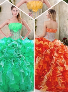 Pretty  Strapless Quinceanera Dresses with Sequins and Ruffles