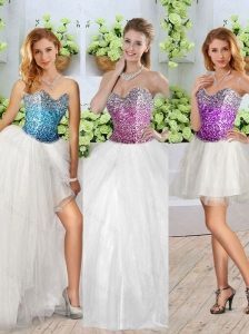 Pretty White Detachable Quinceanera Dresses with Sequins and High Slit