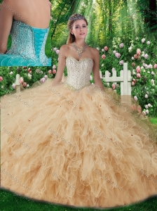 2015 Fashionable Sweetheart Beading Quinceanera Gowns in Champagne