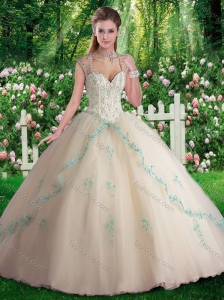 2016 Elegant Sleeveless Beading and Appliques Sweet 16 Dresses in Champange