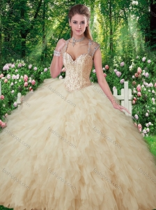 2016 Exquisite Quinceanera Gowns with Beading and Ruffles in Champange