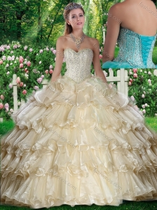 2016 Hot Sale Sweetheart Beading and Ruffled Layers Quinceanera Dresses