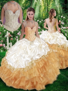 2016 Pretty Ball Gown Beading Champange Quinceanera Dresses
