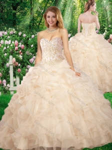 2016 Pretty Sweetheart Beading Quinceanera Gowns for Fall