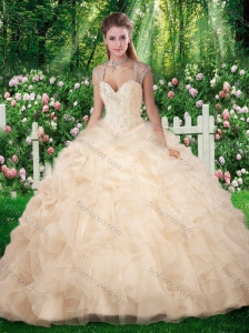 Beautiful Champange Quinceanera Dresses with Beading and Appliques