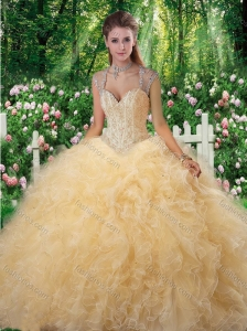 Classical Ball Gown Beading Sweet 16 Gowns in Champange