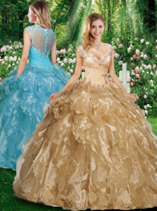 Cute A Line Cap Sleeves Quinceanera Dresses with Beading