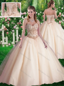 Cute Ball Gowns Sweetheart Appliques Champagne Sweet 16 Dresses
