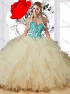 Cute Sweetheart Champagne Quinceanera Dresses with Appliques and Ruffles