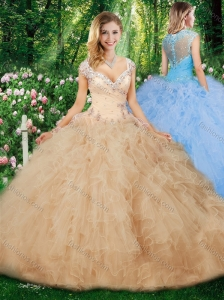 Hot Sale Ball Gown Quinceanera Gowns with Beading and Ruffles