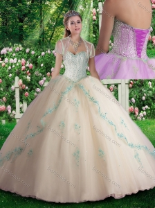 Inexpensive Champagne Quinceanera Dresses with Beading and Appliques