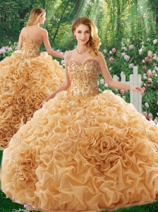 Luxurious Brush Train Appliques Quinceanera Dresses for 16 Brithday Party