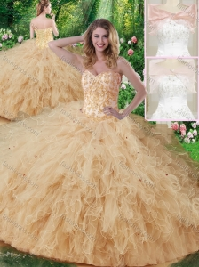 Luxurious Sweetheart Beading Quinceanera Dresses in Champagne