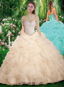 New Arrivals Sweetheart Champange Sweet 16 Dresses with Beading