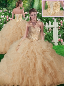 New Style Sweetheart Champagne Quinceanera Gowns with Beading and Ruffles