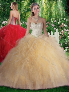 Pretty Ball Gown Beading and Ruffles Sweet 16 Gowns