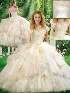 Pretty Ball Gown Quinceanera Dresses with Appliques and Ruffles in White