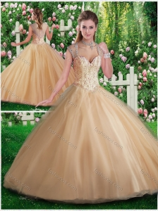 Simple A Line Champange Quinceanera Gowns with Beading and Appliques