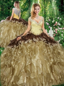 Wonderful Straps Sweet 16 Gowns with Beading and Ruffles