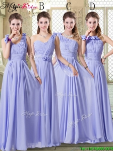 Pretty Empire Floor Length Elegant Bridesmaid Dresses in Lavender