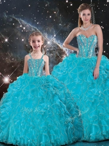2016 Luxurious Ball Gown Princesita with Quinceanera Dresses with Beading in Baby Blue