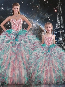Fashionable Ball Gown Princesita with Quinceanera Dresses with Beading and Ruffles