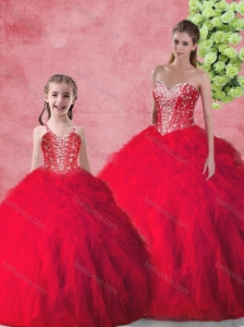 Hot Sale Beading 2016 Princesita with Quinceanera Dresses in Red