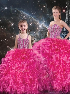Luxurious Beading Princesita with Quinceanera Dresses in Hot Pink