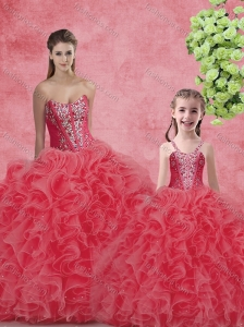 Wonderful Ball Gown Sweetheart BeadingPrincesita with Quinceanera Dresses in Coral Red
