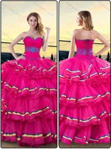 Gorgeous Hot Pink Sweetheart Quinceanera Dresses with Ruffled Layers