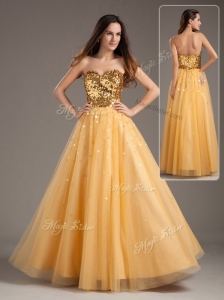 Luxurious Princess Sweetheart Sequins Long 2016 Bridesmaid Dresses in Gold