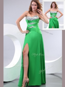 Affordable Sweetheart Paillette and High Slit Green Celebrity Dresses