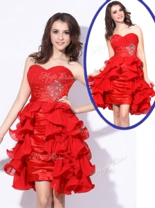 Best Sweetheart Red Short Celebrity Dresses with Beading and Ruffles