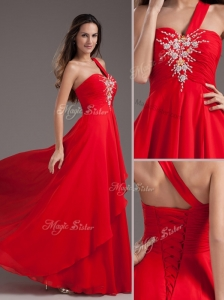 Cheap Empire One Shoulder Red Celebrity Dresses with Beading