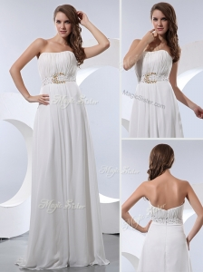 Discount Empire Strapless Beading Celebrity Dresses in White