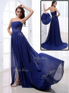 Elegant Brush Train Strapless Beading Celebrity Dresses in Royal Blue
