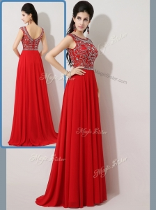 Fashionable Empire Bateau Brush Train Celebrity Dresses with Beading