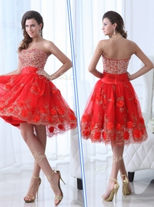 Gorgeous Sweetheart Red Celebrity Dresses with Beading and Appliques