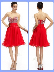 Lovely Short Sweetheart Beading Celebrity Dresses in Red